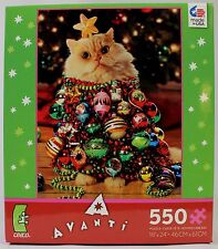 "Cat Christmas Tree Jigsaw Puzzle 18""X24"" Kitten Tiger Animal Pet Holiday Xmas"