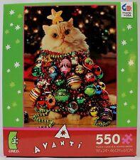 "CAT CHRISTMAS TREE JIGSAW PUZZLE 18""X24"" Kitten Tiger Animal Pet Holiday Xmas"