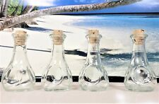 SET OF 4 SMALL CORK STYLE UNIQUELY SHAPED CLEAR USABLE BOTTLES