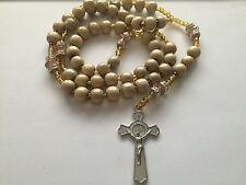 Tan Large Rosary Necklace Wood Beads Rosario Sinaloense Madera Cafe Hueso