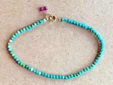 """Turquoise Gemstone Bracelet Beaded strand rare LIMITED Sleeping Beauty 7.5"""" 18k"""