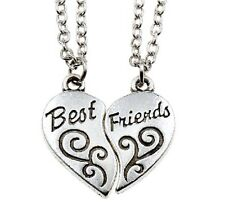 2Pcs Partner Best Friend Heart Charm Chain Pendant Necklace Silver Jewelry BY145