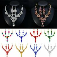 Masquerade Crystal Rhinestone Wedding Necklace Earring Set Vogue Prom Jewelry