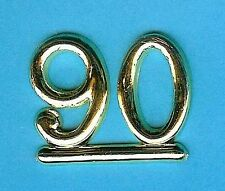 GOLD 90 NUMBERS/ NUMERALS (Pack of 6) CAKE DECORATIONS / CARD MAKING