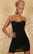 Sz 8 10 Black Strapless Party Slim Fit Formal Casual Bodycon Cocktail Mini Dress