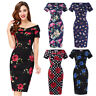 Women Vintage 1950s Floral Pencil Wiggle Evening Formal Bodycon Dress Size 4~18