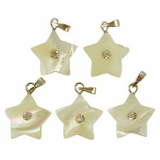 5 Mother of Pearl Shell Gemstone Bead STAR Pendants 15mm