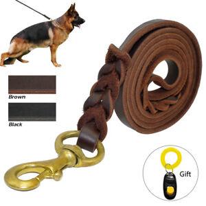 Brown Black Braided Genuine Leather Dog Leash Heavy Duty German Shepherd Pitbull