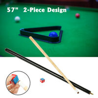 57'' 2-Piece 1/2 Design Wood Jointed Cue Stick Snooker Billiards Pool With Chalk