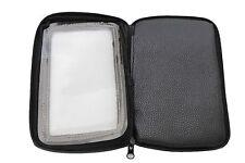 Men Black Fabric Wallet Cellphone Case Magnetic Stick Biker Motorcycle Zipper