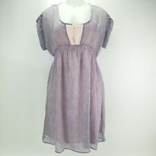 I Love Ronson Womens Casual Dress M Pink Purple Short Sleeves Stripe Top Button