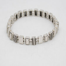 Premier Designs jewelry silver plated square bead tennis bangle stretch bracelet