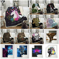 Boho Unicorn Skull 3D Printed Throw Blanket Plush Sofa Bed Sherpa Fleece Blanket