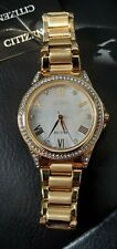 Citizen Ladies EM0232-54D Eco-Drive Crystal Accented Gold Tone Watch w/ MOP Dial