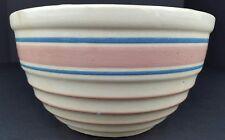 "Vintage Distressed Ceramic Pottery 8"" Mixing Bowl Ribbed Blue Pink Stripes Watt?"