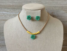 Kids Girls Spring Green Flower, Yellow Beads, Beige Cord Necklace & Earrings Set