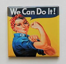 """ROSIE THE RIVETER - Square Button Pinback 2"""" - WE CAN DO IT"""