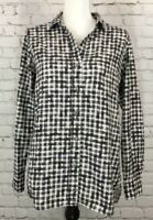 Theory Womens Size Small Black White Checked Long Sleeve Shirt Button Up