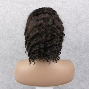 """12"""" Deep Wave  #1B 100% Human Remy Hair Stretched Lace Front Wig Bob Wig"""