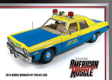 1974 Dodge Monaco 4 door Police Car Blue & Yellow NEW YORK 1:18 Auto World 949