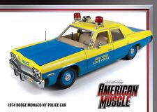1974 Dodge Monaco 4 door Police Car Blue & Yellow NEW YORK 1:18 Auto World 949