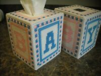 TISSUE BOX COVER - BABY (b) - Plastic Canvas