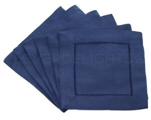 12 Navy Hemstitch Cloth Cocktail Napkins - 6 Inch - 55/45 Linen Cotton Blend 6""