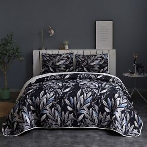 Leaves Quilted Patchwork King Size Comforter Bedspread Set Bedding Throw Rug New