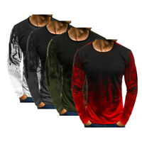 Men's Slim Fit O Neck Long Sleeve Muscle Tee T-shirt Casual Warm Tops Blouse Hot