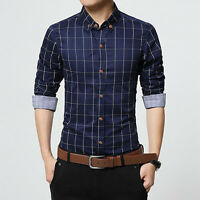 Men's Long Sleeve Shirt Plaid Cotton Casual Slim Fit Fashion Shirt Plus Size