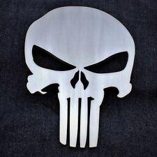 """8"""" Grill Badge Emblem Billet Punisher Logo Aluminum Satin Brushed Clear Powder"""