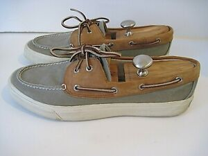Sperry Top Sider Boat Shoes Mens Green Canvas Nubuck Leather Laced Size 12 M