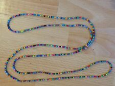 "Rainbow Seed Bead Long 58"" Necklace Bracelet Hippie Love Beach Festival Boho"