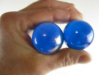 2 BOULDERS 35mm LUSTERED BLUE Iridescent Clear Metallic Marbles glass LARGE HUGE
