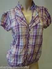 mujer beige / morado Melocotón manga corta de cuadros blusa top UK 12 UE 40