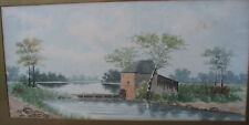 """The Mill, Original Watercolor, Antique, Signed Meisek, Gold Frame, 26"""" x 17.5"""""""