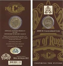 2008 $1 CENTENARY OF RUGBY LEAGUE Uncirculated $1 One Dollar Coin in Card