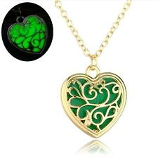 """3/4"""" GOLD-TONE HEART Glow in the Dark Pendant 18"""" Necklace"""