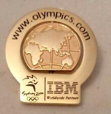 2000 IBM Sydney Olympic Pin ebusiness Rotating World Globe Dot Com Gold Version