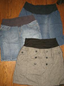 womens maternity Large pull on skirt lot Mimi Jules & Jim denim jean nice!