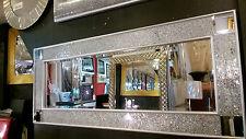 Crackle Mosaico de Vidrio Marco plata Espejo pared larga 120x50cm Esquina Diseño