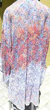 Victorias Secret sheer chiffon floral robe swim coverup jacket M L orange blue