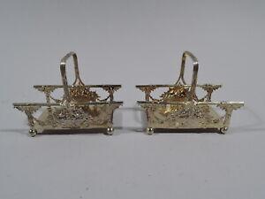 Redlich Napkin Rings - 8582 - Antique Basket Pair - American Sterling Silver