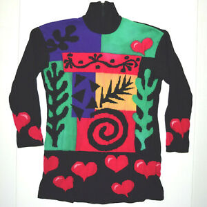 St John Vintage Colorblock Sweater XS/S Hearts of Love & Shapes High Neck
