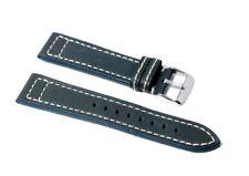 Cinturino orologio lux vero cuoio blu spessore 4,2mm ansa 22mm pelle tipo panera