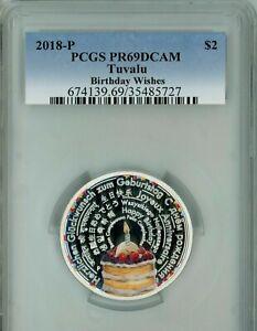 2018-P Tuvalu $2 Birthday Wishes 2 oz Silver .999 PCGS PR PF 69 DCAM RARE