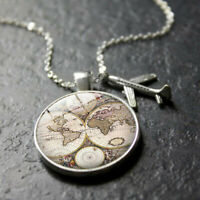 Neutral Map Choker Jewelry Pendant Earth World Aircraft Alloy Necklace Glass