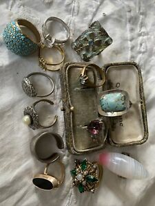 Job Lot Collection Of Vintage 1950s/60s/70s/70s Rings