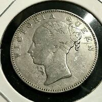1840  BRITISH INDIA SILVER ONE RUPEE YOUNG VICTORIA COIN