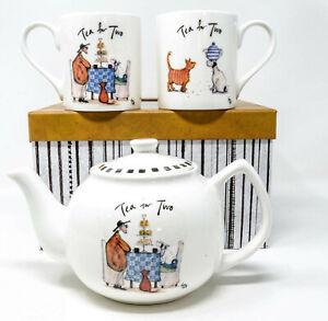 Sam Toft Tea for Two Collectable Teapot & 2 x Fine Bone China Mug Set Gift Box